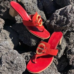 Hermes Red Suede Leather Chaine d'Ancre Sandals 37